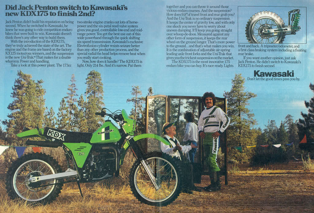 kawasaki kdx175 i experienced the bike s entire range of handling versatility in the jack pine where one minute the drill was to zig zag between closely spaced trees in